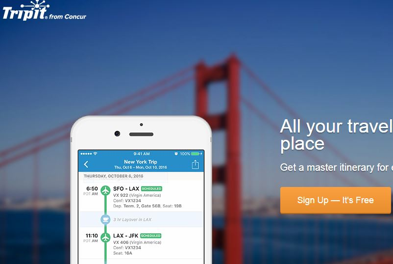 TripIt app for hotel reservations, flights