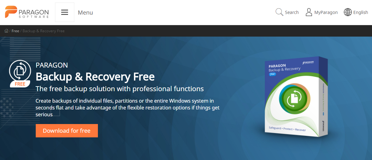 Paragon Backup and Recovery - Best Free Backup Software