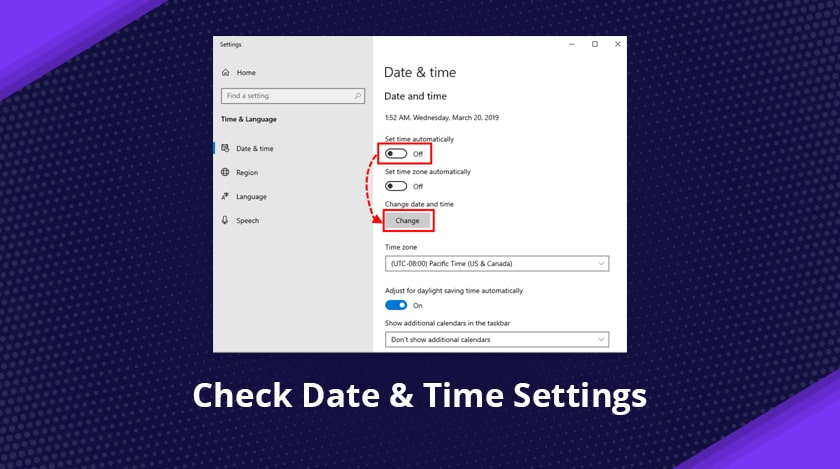 Check Date & Time Settings