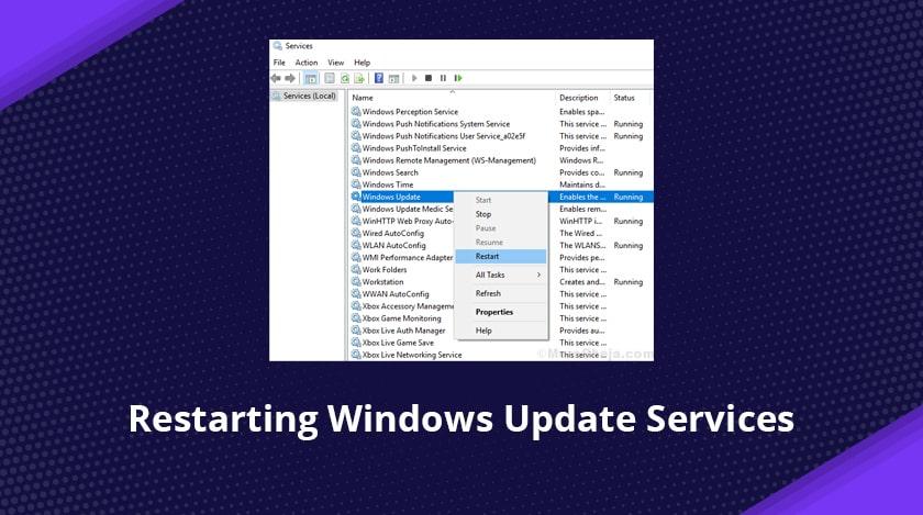 Restarting Windows Update Services