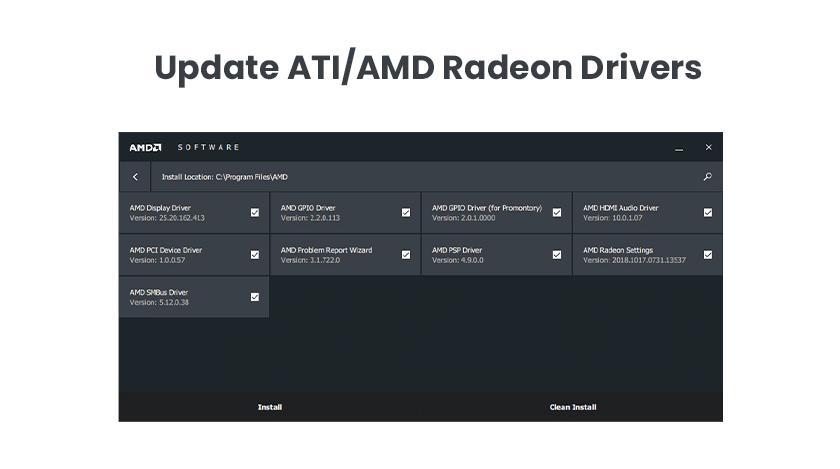 Update ATIAMD Radeon Drivers