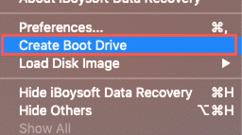 """Step 2: Launch the iBoysoft Data Recovery for Mac and click iBoysoft Data Recovery on the menu bar and then select """"Create Boot Drive"""""""