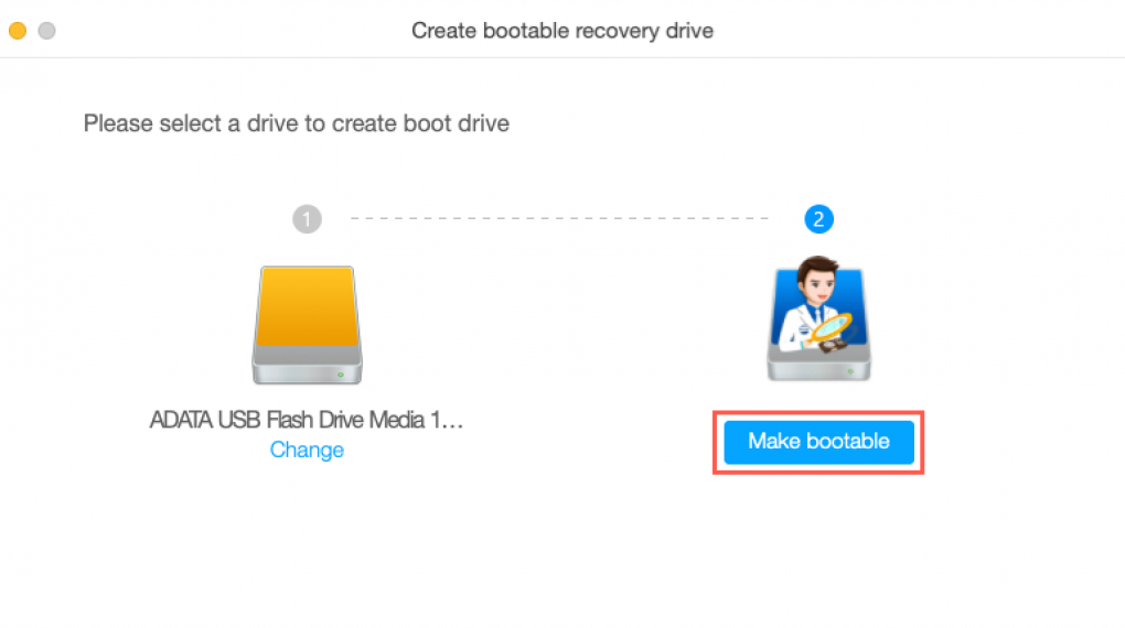 Step 4: Create a bootable recovery drive on the USB flash drive.
