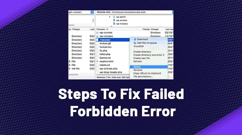 Steps To Fix Failed Forbidden Error