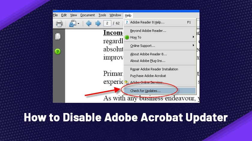 how to disable Adobe Acrobat updater