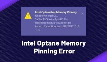 intel optane memory pinning error