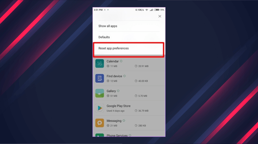 Reset The App Preferences